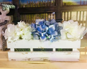 Blue & White Hydrangea Floral Arrangement/Distressed Wood Crate/White Paint/White Hydrangeas/Blue Hydrangeas/Green Moss/Metal Handles