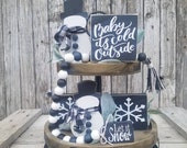 Snowman tiered tray set, Christmas tier tray bundle, let it snow, beaded garland, baby its cold outside, snowflake, mini sign, winter décor