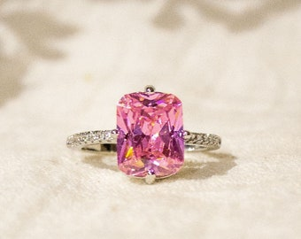 Hand Made Ladies 925 Sterling Silver Princess Cut Pink and White Sapphire Ring