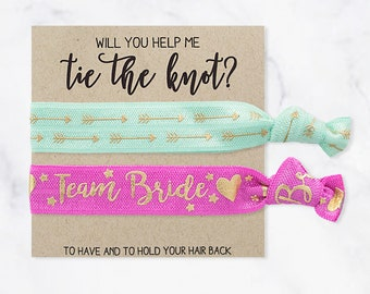 YOU DESIGN Hair Tie Bridesmaid Gift | Blush Pink, White + Gold Hair Tie Favors, Bridesmaid Proposal Gift, Wedding Party Bridesmaid Hair Ties