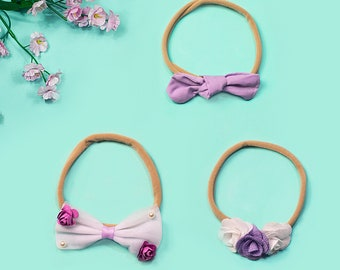 Baby headband SET, Baby Headbands, Baby girl headbands, Small Bows, Baby Bows, Newborn Headbands, Nylon Headbands, Headbands for Babies