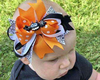 halloween headband baby headband hair bow halloween headband orange and black halloween headband baby girl headband halloween spider bow