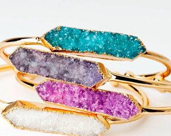 Druzy bracelet druzy jewelry crystal bracelet Druzy cuff Geode bracelet Aura quartz bracelet Druzy bangle white purple blue gold silver pink