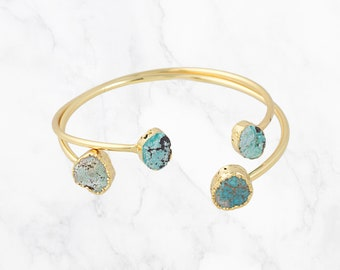 Natural Turquoise Bracelet Turquoise Gold Cuff Turquoise Bangle Stone Gemstone cuff Turquoise Bracelet Boho Bridesmaids Gift Best Friend