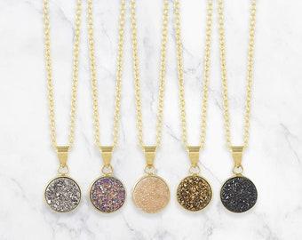 Tiny Druzy Necklace, Natural Druzy Pendant Necklace, Druzy Gemstone Necklace, Raw Gemstone Necklace, Boho Necklace, Bridesmaids Gift