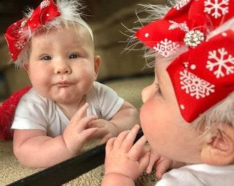 Christmas headband baby, Christmas outfit baby girl, Newborn Christmas headband, Baby headband, Newborn Christmas outfit, Toddler headband