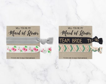 Will You Be My Maid of Honor Hair Tie Gift | Blush Pink White + Gold Hair Tie Bridesmaid Gift, Vintage Floral Bridesmaid Proposal Card Gift