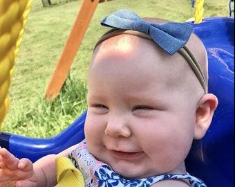 Soft Baby Headband SET Baby Headband Small Bows Baby Bows Newborn headbands Nylon Headbands Itty Bitty Bows Baby Hair Bows Fabric Headband