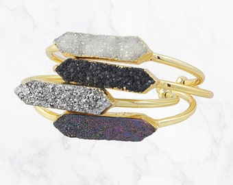 Druzy jewelry Best friend gift ideas Bridesmaid pink purple blue Raw crystal bracelet gold silver druzy Angel aura quartz bracelet cuff
