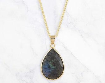 Labradorite Necklace, Labradorite Pendant, Teardrop Necklace, Gold Filled Necklace, Gemstone Necklace, Layering Necklace, Crystal Necklace