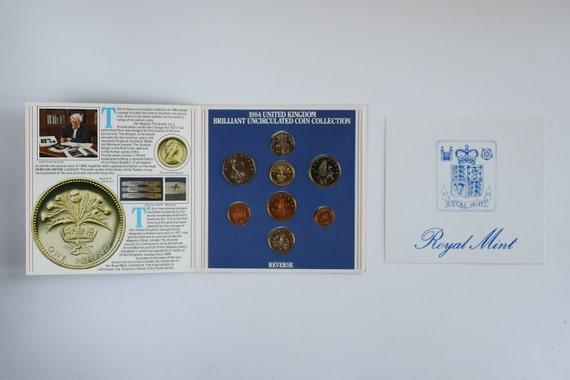 Royal Mint UK 1984 Brilliant uncirculated  8 coin set includes Scottish £1 coin