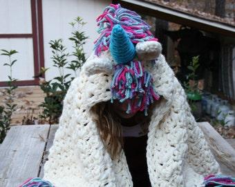 Crocheted Hooded Child's Unicorn Blanket