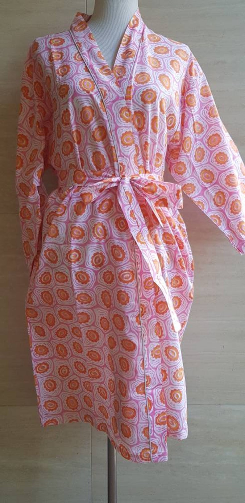 d955b84184 Cotton Robe Kimono Wedding Bridesmaid Robes Indian block