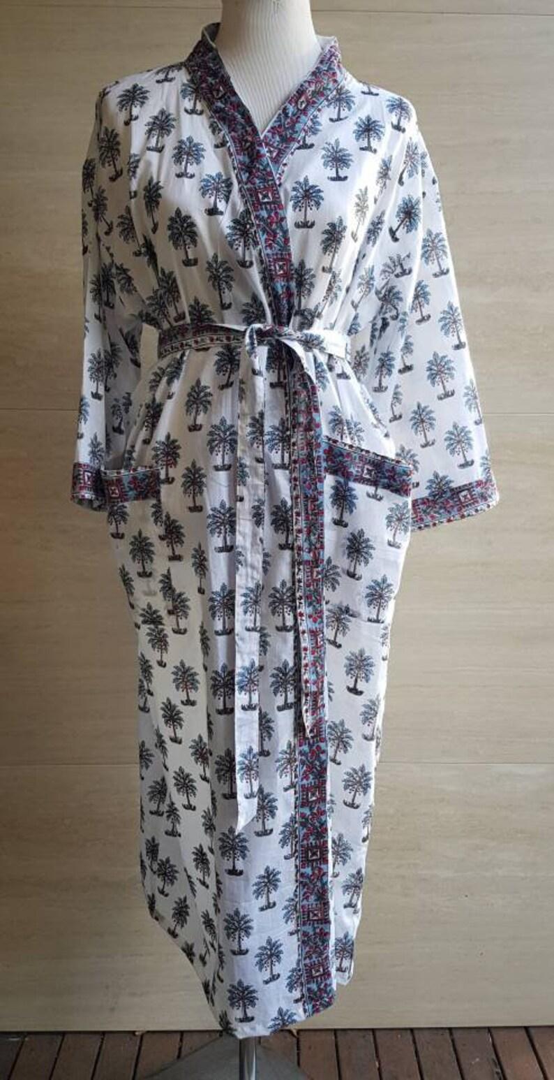 Kimono Indian block print  palm tree design bridesmaid wedding gown Cotton Bathrobe