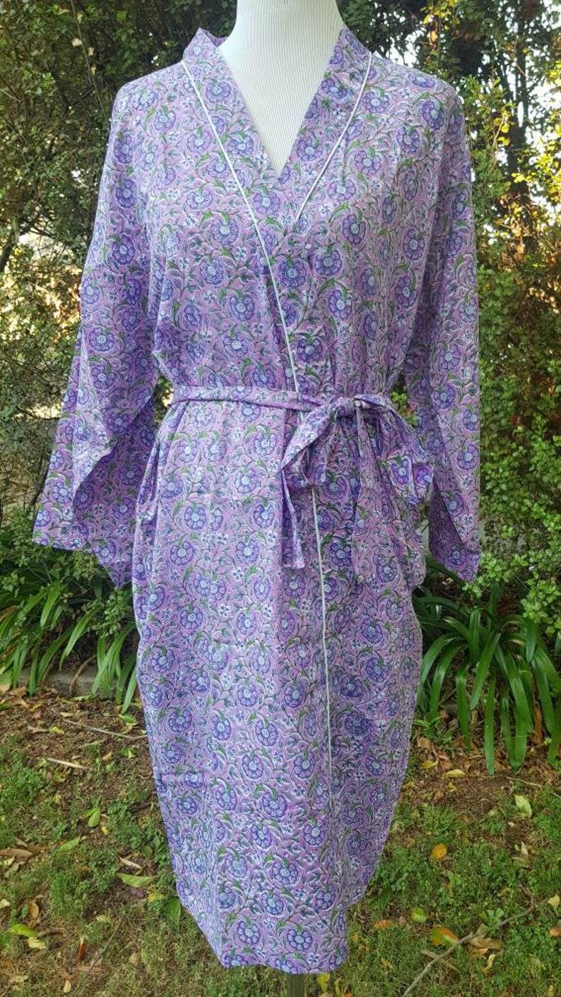 0a243b504b Cotton Bathrobe Kimono Indian block print design