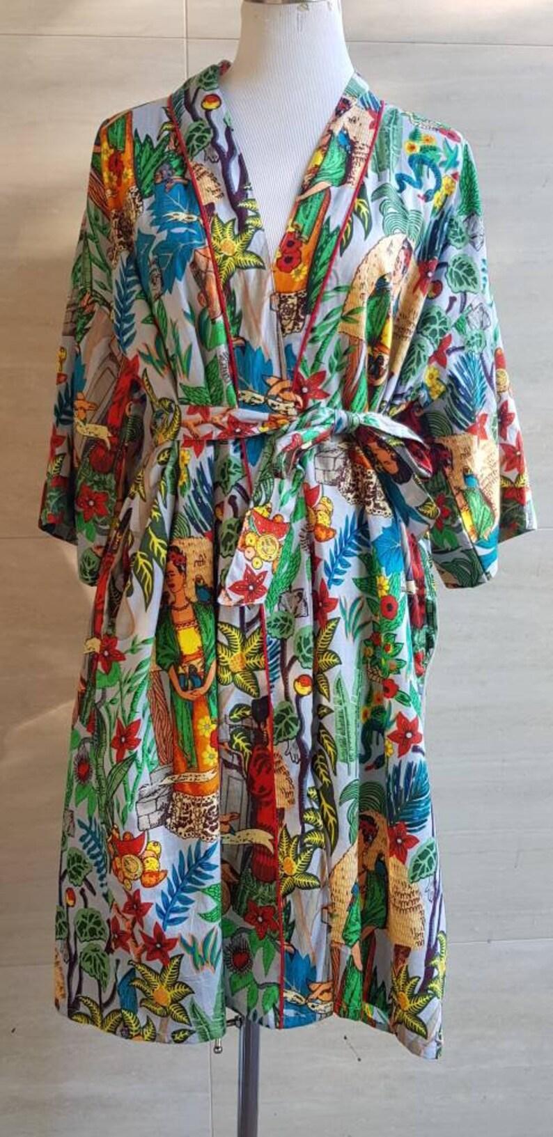 41ece662ed Grey-blue Cotton Frieda Robe Bathrobe Kimono Indian