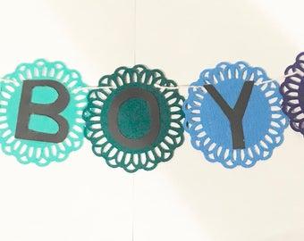 Boy mini felt banner