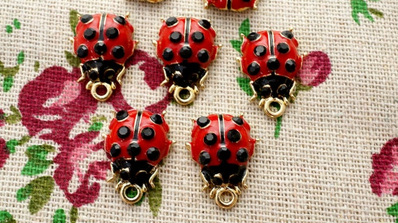 ladybird beads 10 antique silver vintage style jewellery supplies C519