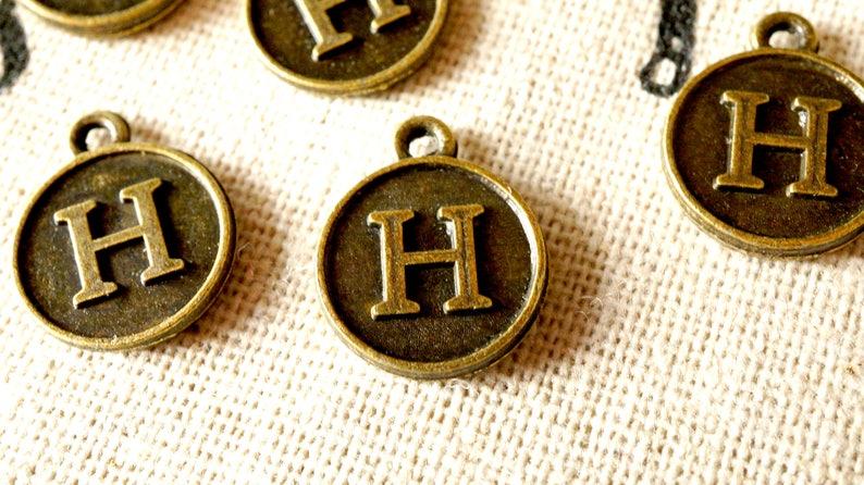 Alphabet letter H charm bronze vintage style jewellery supplies