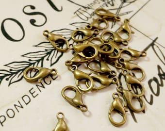 lobster clasps 20 bronze jewellery supplies C16