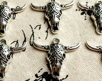 Cow face 10 charms silver  jewellery supplies C402