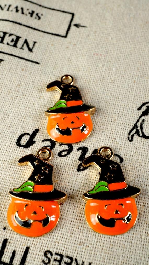Pumpkin orange beads 20 halloween jewellery supplies C1306