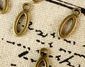 Alphabet letter O charm bronze vintage style jewellery supplies C32