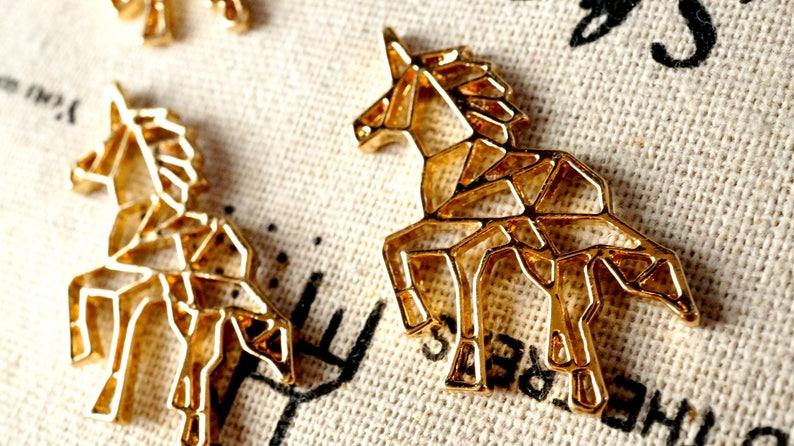 Unicorn head 2 gold charms jewellery supplies C525