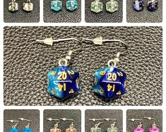 Mini D20 Dice Earrings / Swirl - Glow In The Dark - Glitter / 10mm / Stainless Steel Hangers / Silicone Earnuts