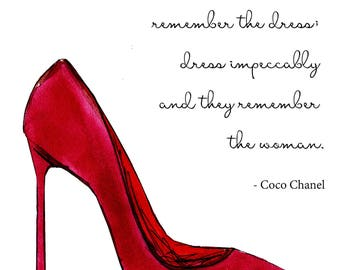 red stiletto prints, chanel quote, gift for mom, girl power, chanel inspired, watercolour art, apartment decor, fashion illustration art,