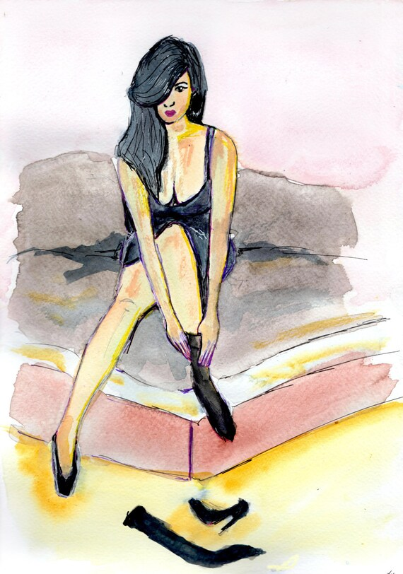 Erotic watercolors pastels