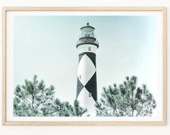 Lighthouses - Lighthouse Photography, Cape Lookout Lighthouse, Lighthouse Photos, Outer Banks Photography, Beach House Decor, Nautical Print