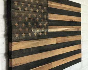 Rustic American Flag Handmade Farmhouse Decor Wooden Subdued Hardwood