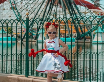 c6093d930 Forky Tank Top Disneybound Full Twirly Skirt Dress, white child dress, full  circle skirt dress