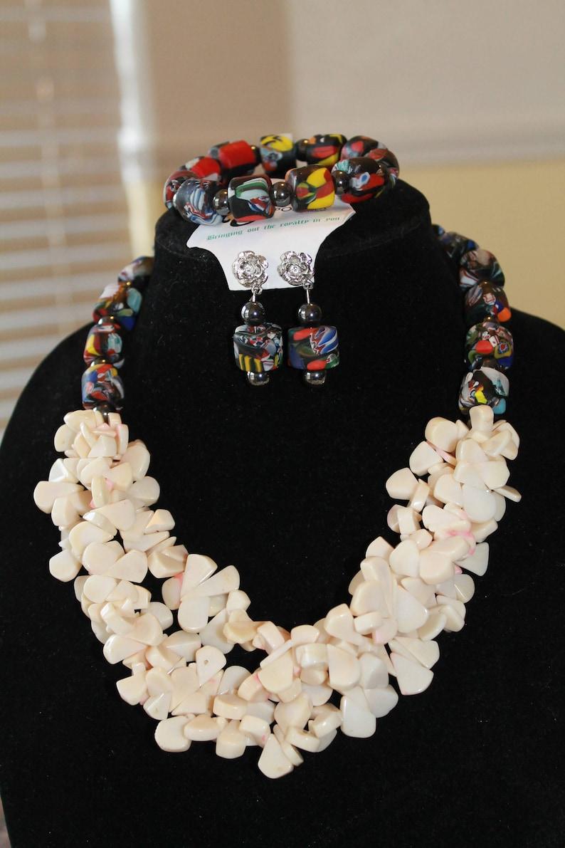 Ghana Jewelry African jewelry set Krobo Beads Original Krobo Jewelry set