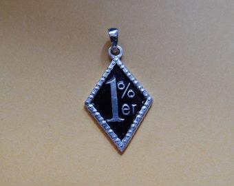 1% ER Pendant for Harley Davidson Biker 925 Silver Pendant with black enamel  32x18mm