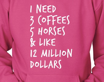 Horse Hoodie / Coffee and Horses / Horse Clothing / horse hoody / gift for horse lover / equestrian gift / horse clothes /  horse riding