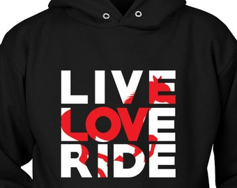 Horse Hoodie / Live Love Ride / Horse Clothing / horse hoody / gift for horse lover / equestrian gift / horse clothes /  horse riding / mare