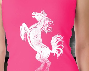 Horse Clothing / Womens Horse Tank / Pink or Black Dancing Bronco Horse Tank Top