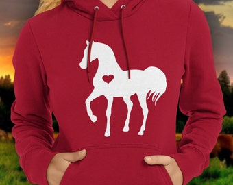 Heart horse hoodie / love my horse / equestrian clothing / equestrian gifts / horse gifts  / horse clothing / horse birthday party sweater