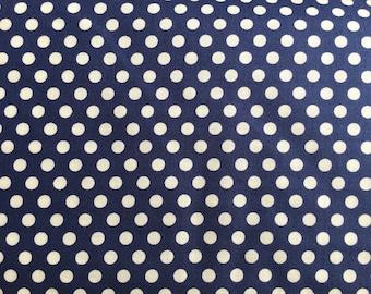 Navy Blue Dot Fabric - Michael Miller Navy Kiss Dot Fabric - Blue and White Polka Dot Material