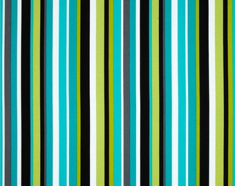 Turquoise and Lime Green Stripe Fabric - Michael Miller Lagoon Stripe Fabric - Blue and Green Stripe Fabric