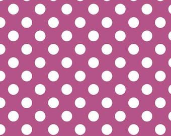 Fuschia Polka Dot Fabric - Riley Blake Medium Dot - Purple and White Dot Fabric