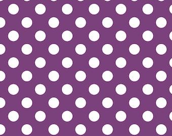 Purple Polka Dot Fabric - Riley Blake Medium Dot - Purple and White Dot Fabric