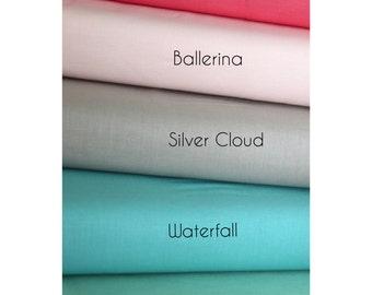 Cotton Fabric Set - Riley Blake Solids - Green Fabric , Coral Pink Fabric , Aqua Fabric , Taupe Fabric
