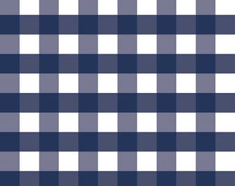 Navy Gingham Fabric - Riley Blake Large Gingham Fabric - Blue and White Check Fabric