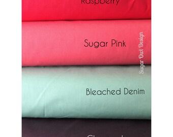 Cotton Fabric Set - Riley Blake Solids - Green Fabric , Coral Pink Fabric , Aqua Fabric