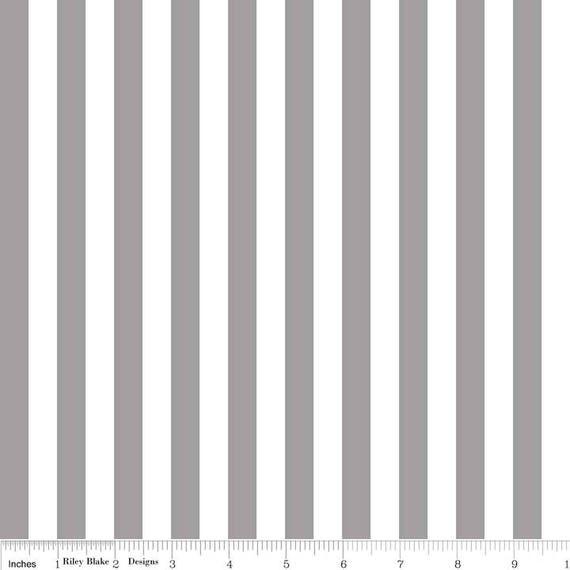 Gray And White Stripe Fabric Riley Blake Designs 12 Etsy