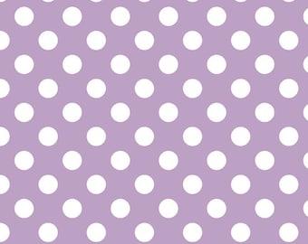 Lavendar Polka Dot Fabric - Riley Blake Medium Dot - Purple and White Dot Fabric