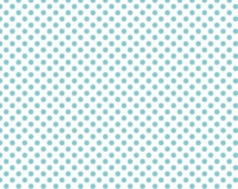 Blue Polka Dot Fabric - Riley Blake Small Dot -Aqua and White Dot Fabric